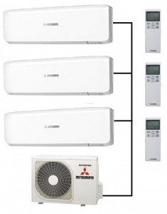 Mitsubishi SCM50ZS-S Outdoor Unit - 3 Indoor Wall Units