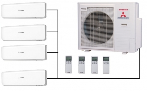 Mitsubishi SCM80ZM-S Outdoor Unit - 4 Indoor Wall Units