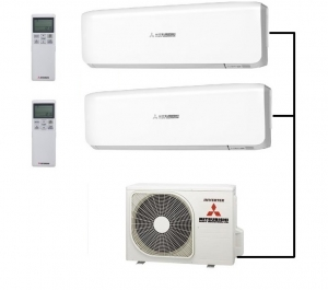 Mitsubishi SCM45ZS-S Outdoor Unit - 2 Indoor Wall Units