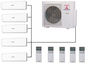 Mitsubishi SCM100ZS-S Outdoor Unit - 5 Indoor Wall Units