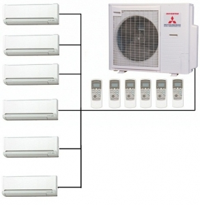 Mitsubishi SCM125ZM-S Outdoor Unit With 4 - 6 Indoor Wall Units