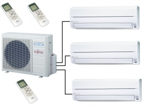 Fujitsu AOYG24LAT3 Outdoor Unit - 3 Indoor Wall Units