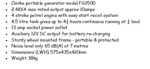 Clarke FG2500 generator