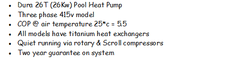 Duratech 26T swimming pool heater