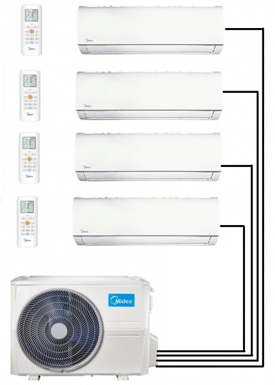 Midea M40-36FN8-Q Outdoor Unit - With 4 Wall Mounted Units
